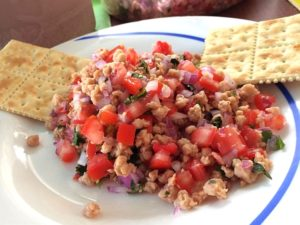 ceviche de soya o soja vegetariano